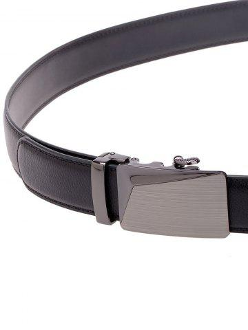 Fashion Polished Automatic Buckle Faux Leather Waist Belt - BLACK  Mobile