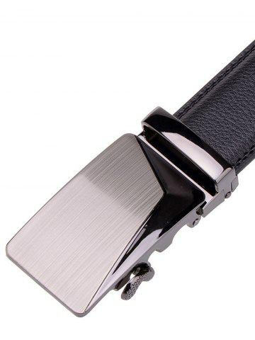Hot Polished Automatic Buckle Faux Leather Waist Belt - BLACK  Mobile