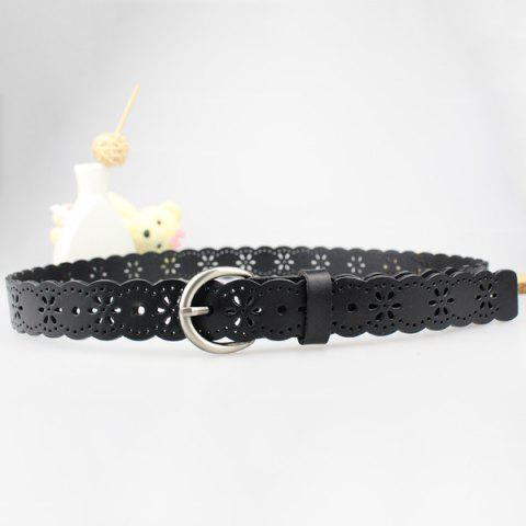 Discount Hollow Out Snowflake Scalloped Leather Belt - BLACK  Mobile