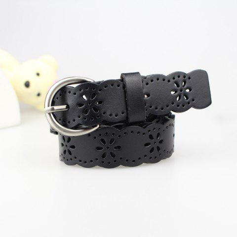 Online Hollow Out Snowflake Scalloped Leather Belt - BLACK  Mobile