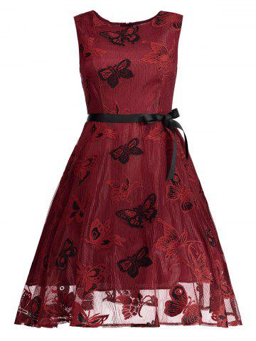 Outfits Butterfly Graphic Belted Short Formal Dress RED M