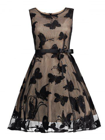 Shops Butterfly Graphic Belted Short Formal Dress BLACK XL