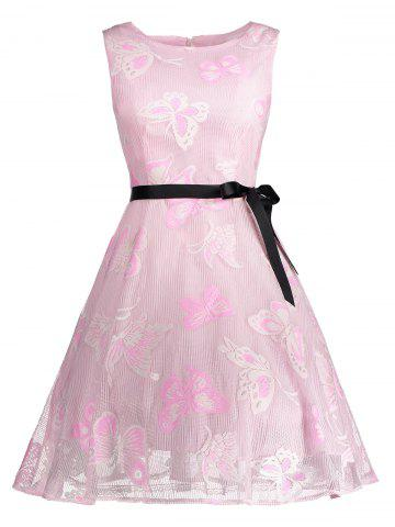 Unique Butterfly Graphic Belted Short Formal Dress PINK S