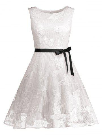Online Butterfly Graphic Belted Short Formal Dress WHITE 2XL