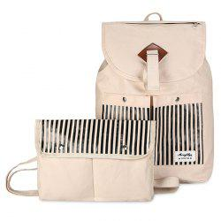 Canvas Pockets Detail Backpack Set