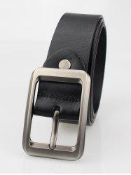 Alloy Rectangle Pin Buckle Leather Belt - BLACK