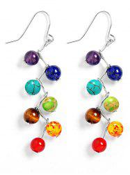 Multicolour Artificial Gemstone Beads Drop Earrings - TURQUOISE BLUE