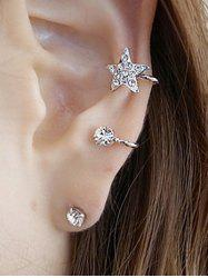 Rhinestone Embellished Star Ear Cuff and Stud Earring - SILVER