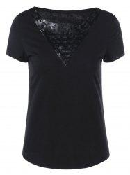 PU Leather Trim Hollow Out T-Shirt