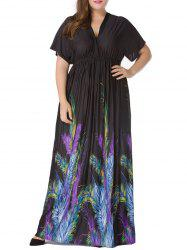 Plus Size Short Sleeve Feather Print Empire Waist Maxi Dress -