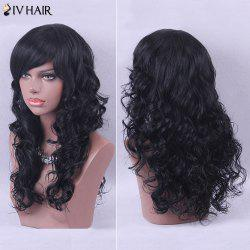 Siv Hair Elegant Long Side Bang Curly Human Hair Wig
