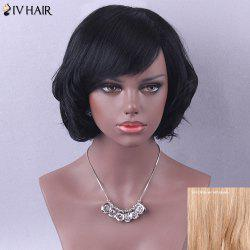 Siv Hair Short Side Bang Retro Curly Human Hair Wig