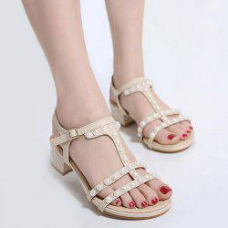 Faux Pearls Chunky Heel Sandals