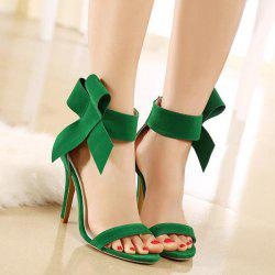 Bowknot Stiletto Heel Zipper Sandals - GREEN