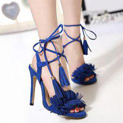 Fringe Stiletto Heel Sandals - BLUE