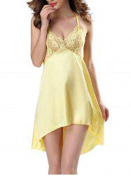 High Low Sleepwear Lace Insert Cami Babydolls - YELLOW