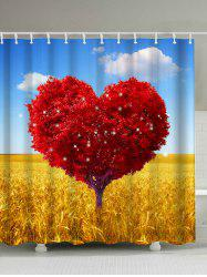 Heart Shaped Tree Print Waterproof Shower Curtain