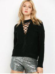 Lace Up Sweater - BLACK ONE SIZE