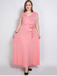 Plus Size Long Surplice Prom Dress with Belt