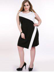 Color Block Sleeveless Plus Size Dress
