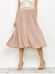 Layered Mesh Midi Skirt - LIGHT PINK