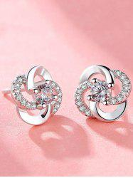 Rhinestone Flower Shaped Stud Earrings