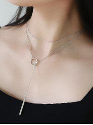 Geometric Circle Bar Necklace - SILVER