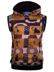 Color Block Scrawl Print Sleeveless Hoodie