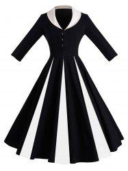 Color Block Shawl Collar Pin Up Dress -