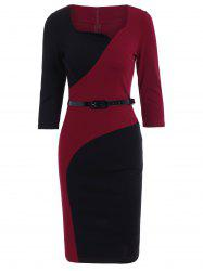 Color Block Belt Pencil Sheath Dress