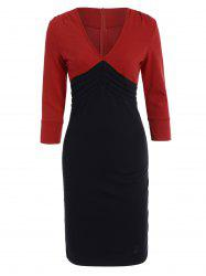 Color Block V Neck Sheath Dress