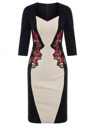 Color Block Sheath Embroidered Dress - APRICOT 2XL
