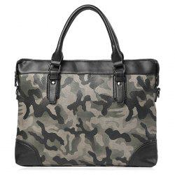 Camouflage Printed Faux Leather Briefcase