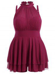 Plus Size Sleeveless High Neck Chiffon Skirted Swimsuit - DEEP RED 3XL