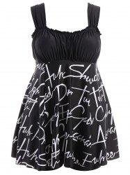 Plus Size Graphic Padded Skirted Swimsuit - BLACK 2XL
