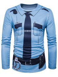 Crew Neck Police Costume Print Long Sleeve T-Shirt