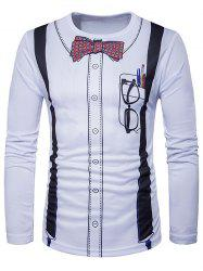 Crew Neck 3D Bow Tie Print Long Sleeve T-Shirt - WHITE