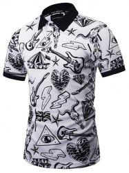 All Over Scrawl Print Polo Shirt