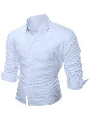 Long Sleeve Flocking Shirt - WHITE