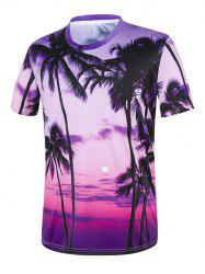 Tropical Palm Tree 3D Print Hawaiian T-Shirt - PURPLE