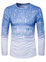 Crew Neck Ombre Splatter Paint Trippy T-Shirt - LIGHT BLUE