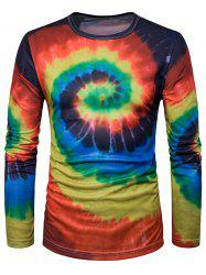 Crew Neck Ombre Tie Dye Trippy T-Shirt - RED WITH BLACK M
