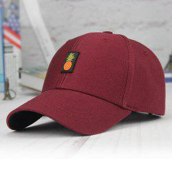 Printed Long Tail Pineapple Embroidery Baseball Cap - CLARET