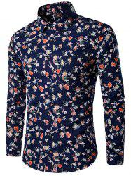 3D Flower Print Long Sleeve Shirt