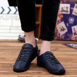 Tie Up PU Leather Casual Shoes