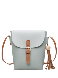 Wood Bead Tassel Crossbody Bag - LIGHT GRAY