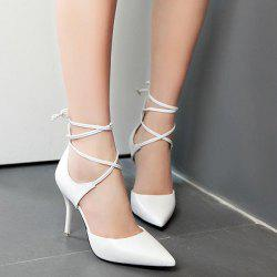 Lace Up Faux Leather Pumps