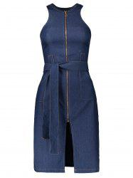 Sleeveless Zip Up Denim Belted Jean Dress - BLUE L