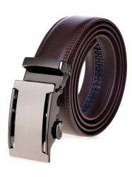 Metallic Auto Buckle Faux Leather Wide Belt - BROWN