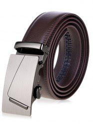 Rectangle Automatic Buckle Wide Waist Belt - BROWN